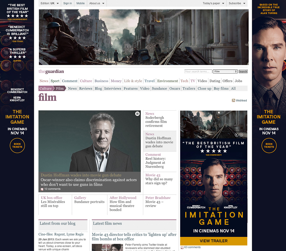 The Guardian homepage takeover