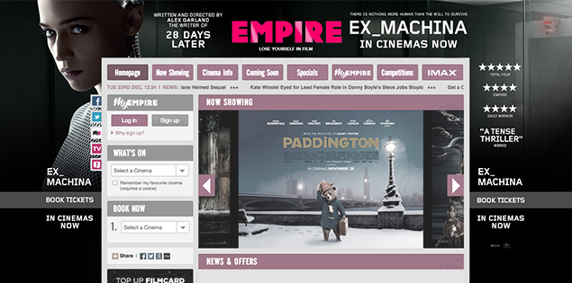 Empire homepage takeover