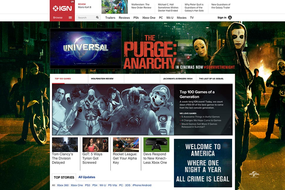 IGN Homepage takeover