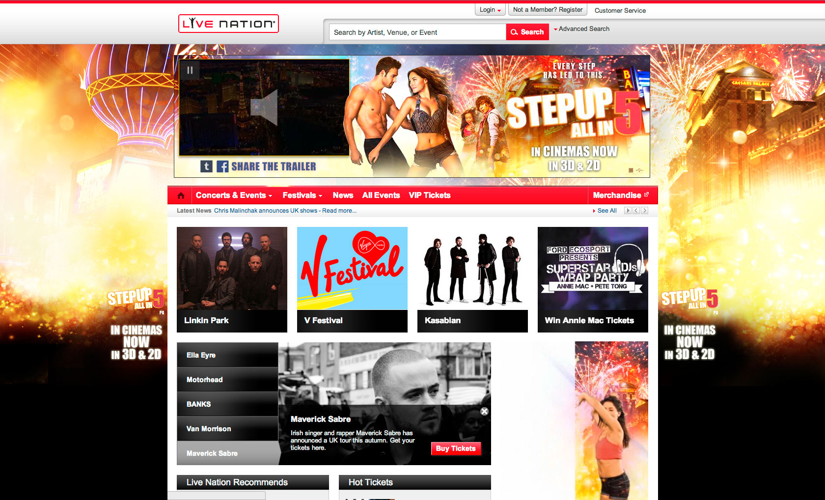 Live Nation homepage takeover