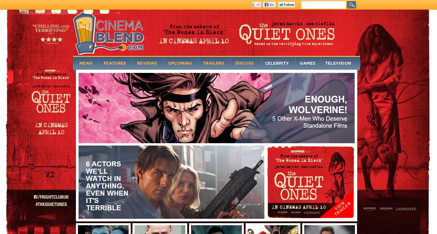 Cinema Blend homepage takeover
