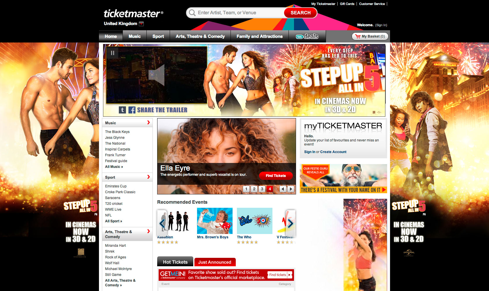 Ticketmaster homepage takeover